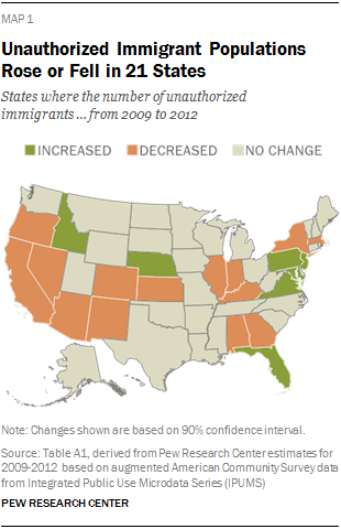 Unauthorized Immigrant Populations Rose or Fell in 21 States