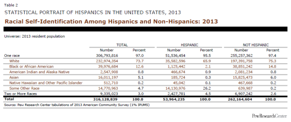 Racial Self-Identification Among Hispanics and Non-Hispanics: 2013