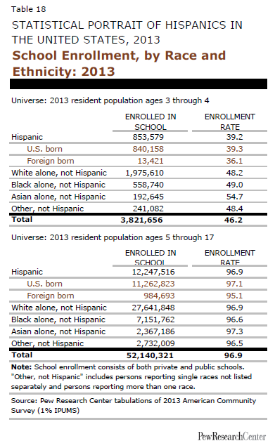 School Enrollment, by Race and Ethnicity: 2013