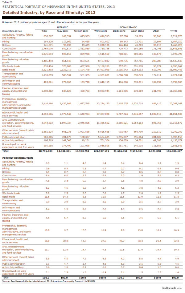Detailed Industry, by Race and Ethnicity: 2013