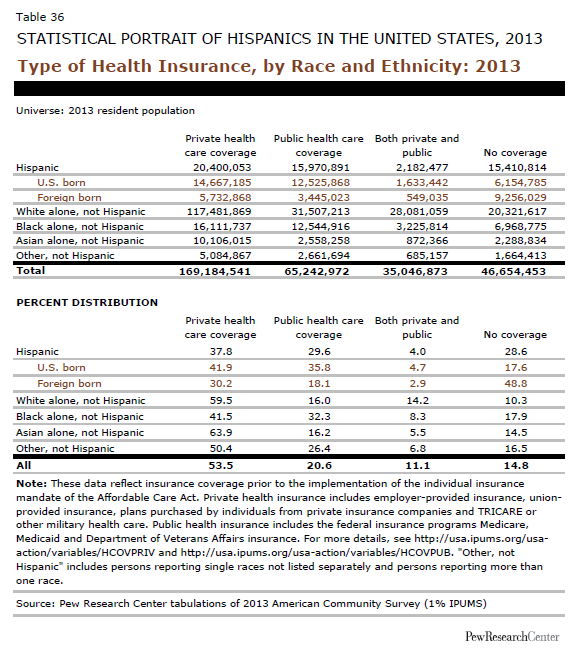 Type of Health Insurance, by Race and Ethnicity: 2013