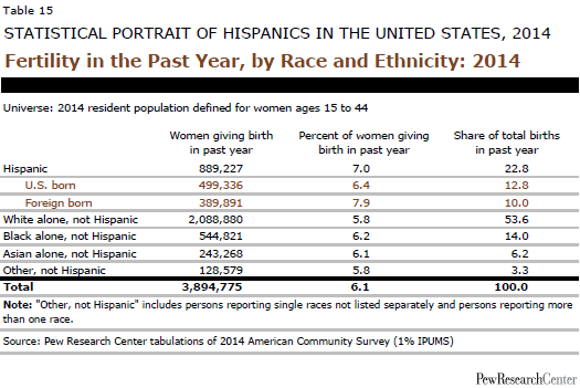 Fertility in the Past Year, by Race and Ethnicity: 2014
