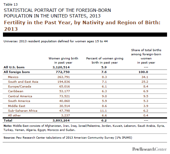 Fertility in the Past Year, by Nativity and Region of Birth: 2013