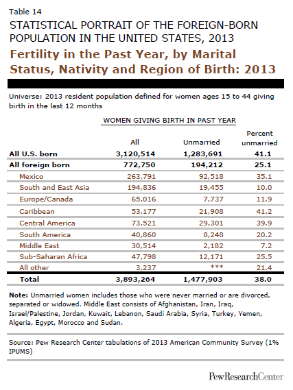 Fertility in the Past Year, by Marital Status, Nativity and Region of Birth: 2013