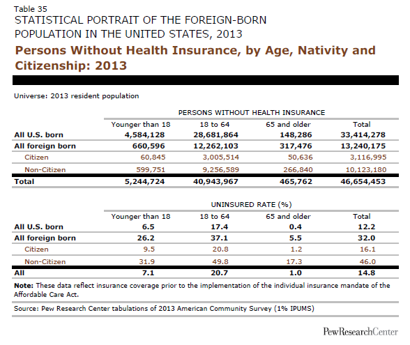 Persons Without Health Insurance, by Age, Nativity and Citizenship: 2013