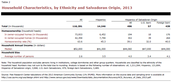 Household Characteristics, by Ethnicity and Salvadoran Origin, 2013