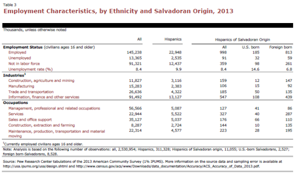 Employment Characteristics, by Ethnicity and Salvadoran Origin, 2013