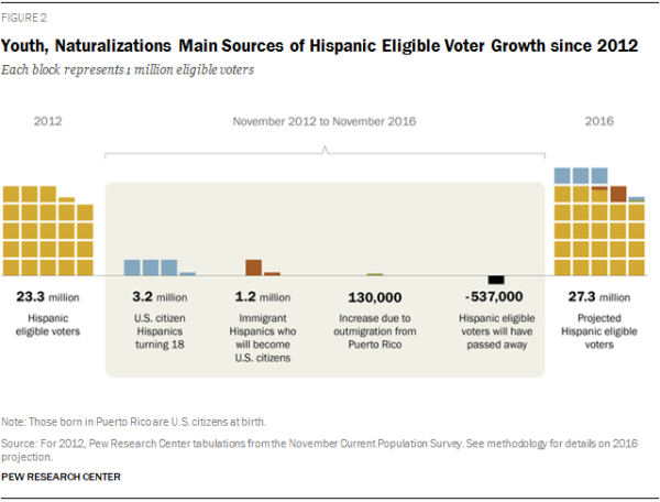 Youth, Naturalizations Main Sources of Hispanic Eligible Voter Growth since 2012