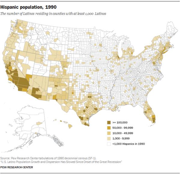 Hispanic population, 1990