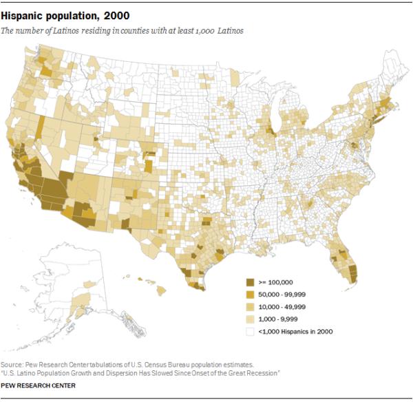 Hispanic population, 2000