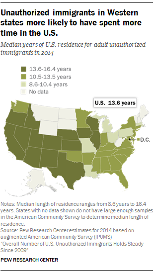 Unauthorized immigrants in Western states more likely to have spent more time in the U.S.