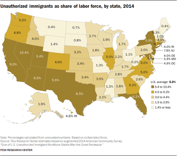 Unauthorized immigrants as share of labor force, by state, 2014