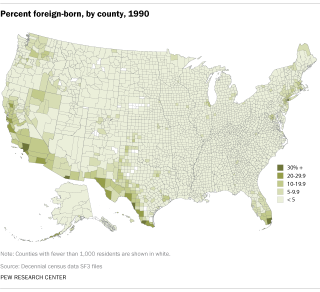 Map showing percent foreign born, by county in the U.S., 1990