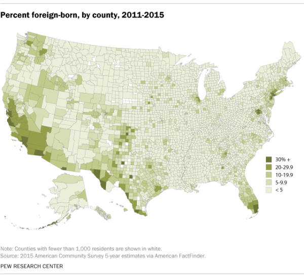 Percent foreign-born, by county, 2011-2015