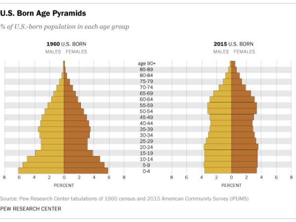 U.S. Born Age Pyramids