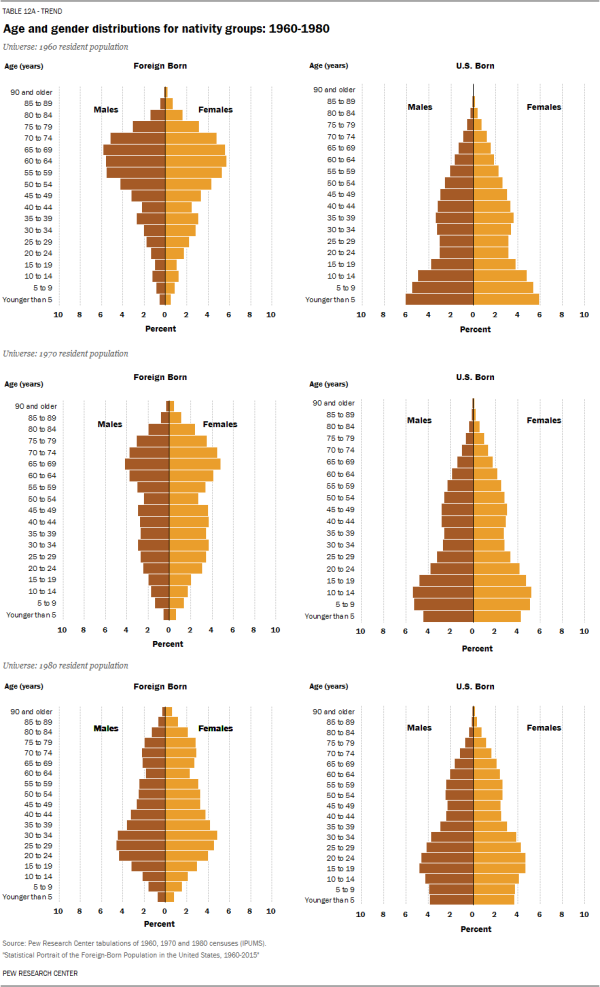 Age and gender distributions for nativity groups: 1960-1980
