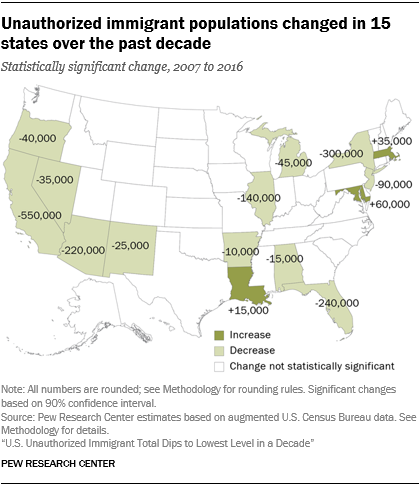 Map showing that unauthorized immigrant populations changed in 15 states over the past decade.