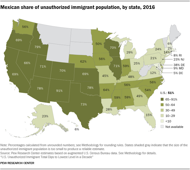 U.S. map showing the Mexican share of the total unauthorized immigrant population by state in 2016.