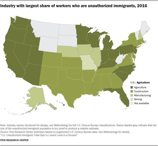 U.S. map showing the industry with the largest share of workers who are unauthorized immigrants by state in 2016