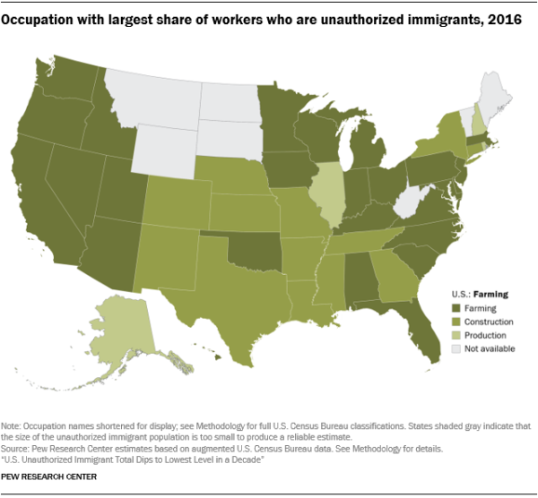 U.S. map showing the occupation with the largest number of workers who are unauthorized immigrants by state in 2016.